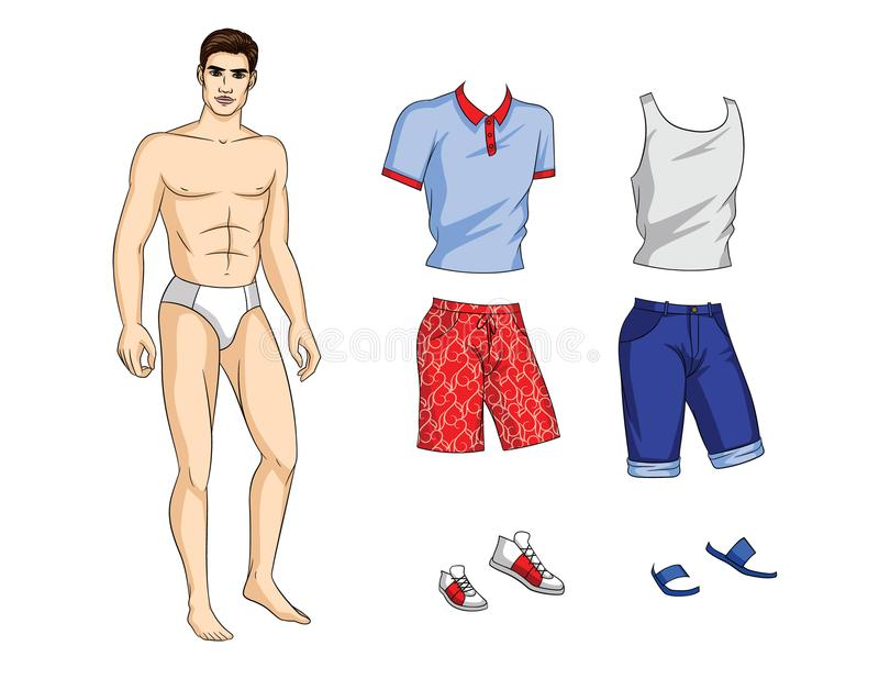 Vector paper doll man with set of stylish summer clothes and shoes. vector illustration