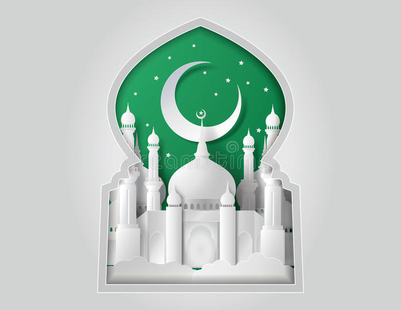 Vector of paper Mosque. royalty free illustration