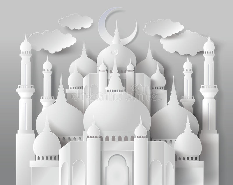 Vector of paper Mosque. stock illustration