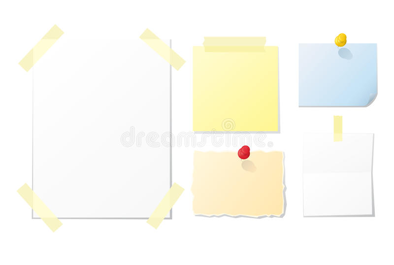 Vector Paper Notes. Collection of blank notes and papers for your design vector illustration
