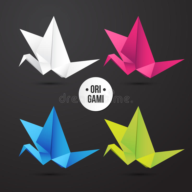 Download Vector Paper Origami Crane Bird Icon Colorful Origamy Set Design For Your
