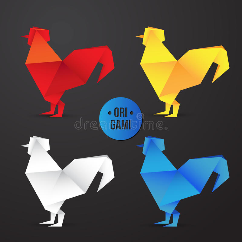 Vector paper origami rooster icon. Colorful origamy set. Paper design for your identity. vector illustration