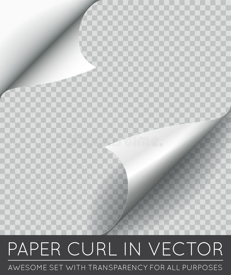 Vector Paper Page Curl with Shadow Isolated. EPS 10 stock illustration