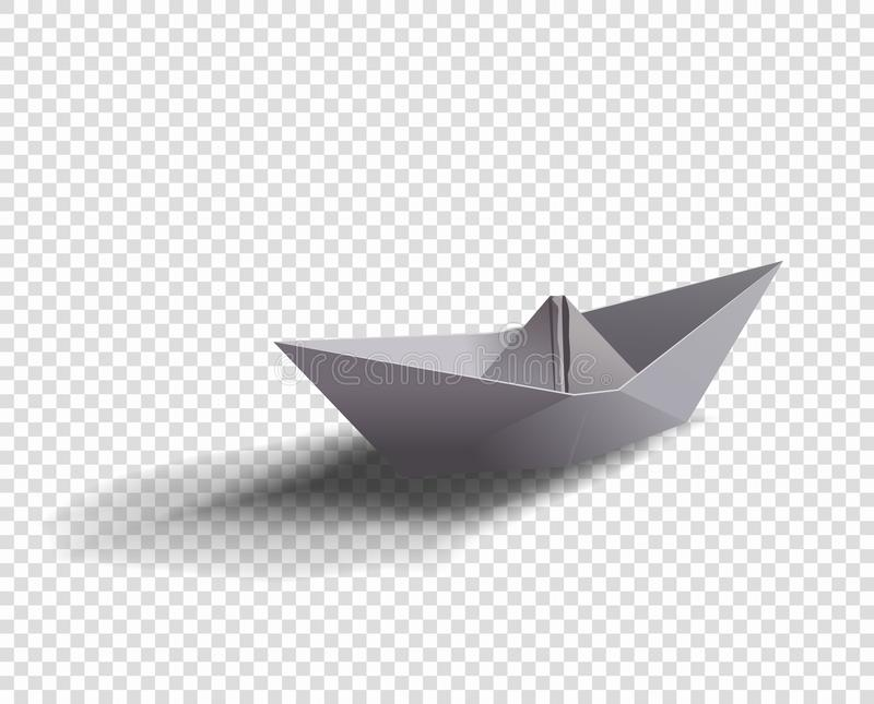 Vector paper ship. Origami boat illustration with shadow on isolated transparent background. royalty free illustration