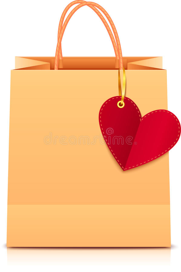 Vector paper shopping bag with heart label vector illustration
