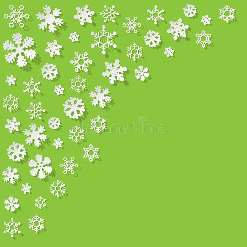 Vector paper Snowflakes in the corner on a green background. stock illustration