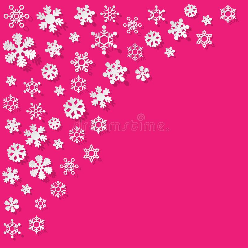 Vector paper Snowflakes in the corner on a pink background. vector illustration