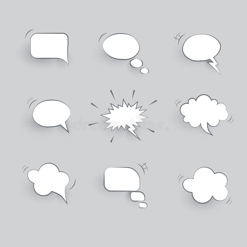 Vector paper speech bubbles on gray background. royalty free illustration