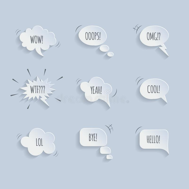 Vector paper speech bubbles isolated on blue background. vector illustration