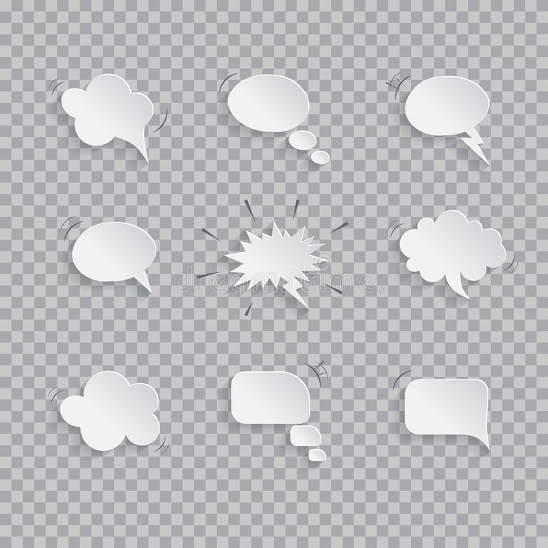 Vector paper speech bubbles isolated on transparent background. royalty free illustration