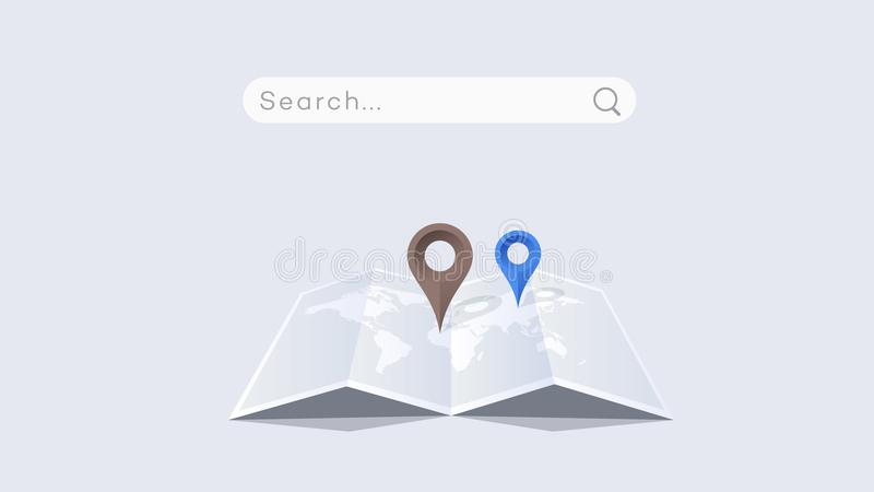 Vector Paper Worldmap With Colorful Pointers. Global Searching On The Worldmap. Conceptual Flat Vector Illustration stock illustration