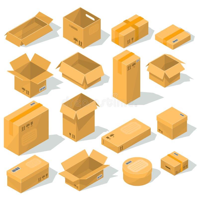 Vector Pappschachteln verschiedene Formen und Größen mit Emblemen von Zerbrechlichkeit auf ihnen lizenzfreie abbildung