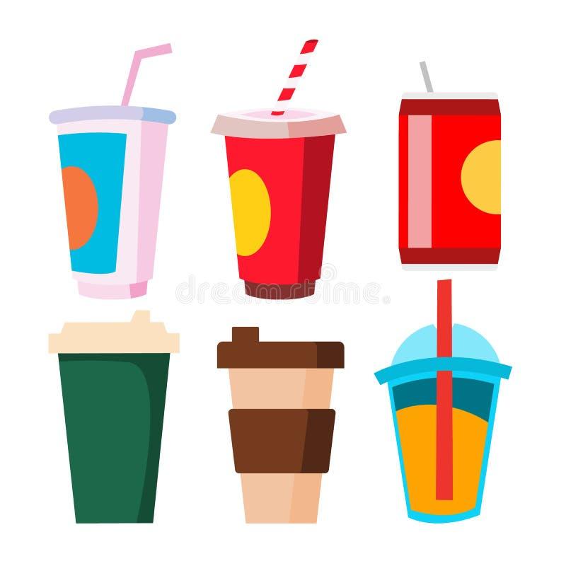 Vector para llevar del sistema de la bebida Taza, taza con el café, jugo, soda Bebida sabrosa fría y caliente Ejemplo aislado de  ilustración del vector