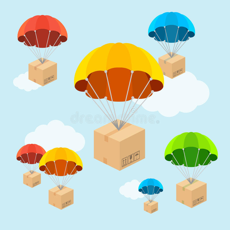 Vector parachute fly with clouds. Flat Design. Vector illustration. Parachute fly with clouds. Delivery concept. Flat Design royalty free illustration