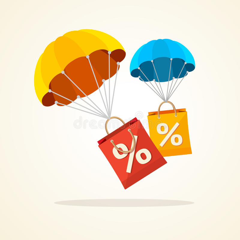 Vector parachute with paper bag sale. Flat Design. Vector illustration flying parachute with paper bag sale. Seasonal discounts autumn, winter. Flat Design royalty free illustration