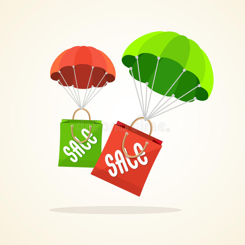 Vector parachute with paper bag sale. Flat Design. Vector illustration flying parachute with paper bag sale. Seasonal discounts spring, summer. Flat Design royalty free illustration
