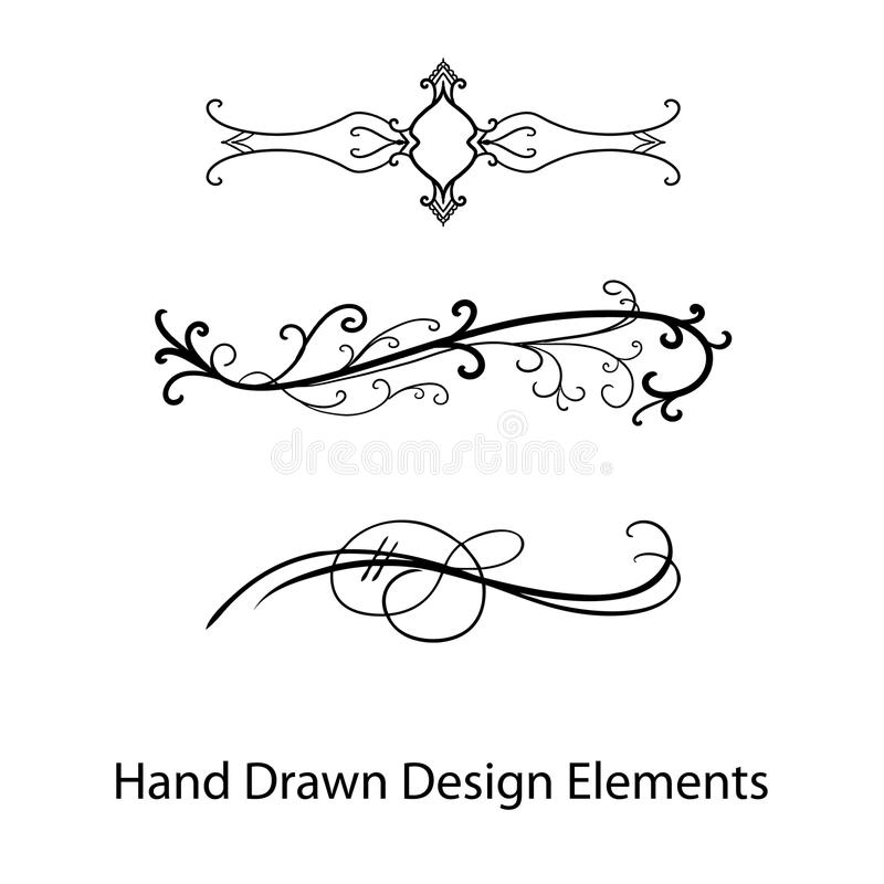 Vector paragraph or text dividers, fancy design elements. Vector design element, paragraph or text dividers, beautiful hand drawn fancy curls and swirls divider royalty free illustration