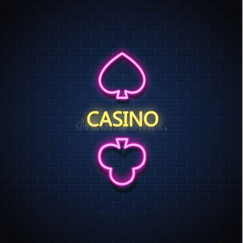 Vector a parede de tijolo de néon do sinal do terno do cartão do pôquer do casino ilustração do vetor