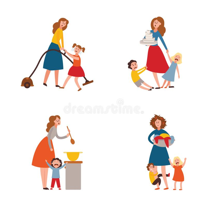 Vector parenting problem big family tired parents. Vector parenthood problems of big family. Tired, exhausted mother with naughty and nasty children crying vector illustration