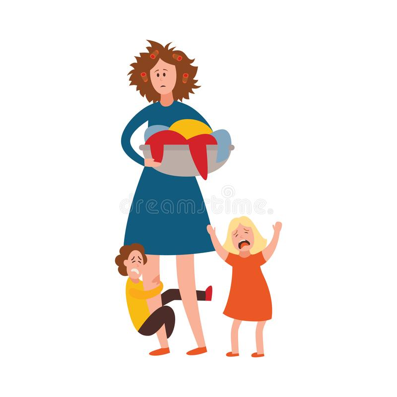 Vector parenting problem big family tired parents. Vector parenthood problems of big family concept. Tired, exhausted mother with disheveled hair with naughty stock illustration