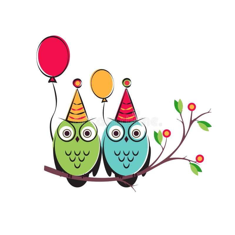Vector pares bonitos das corujas com os balões no ramo de árvore Projeto isolado um fundo branco para o feliz aniversario ilustração stock