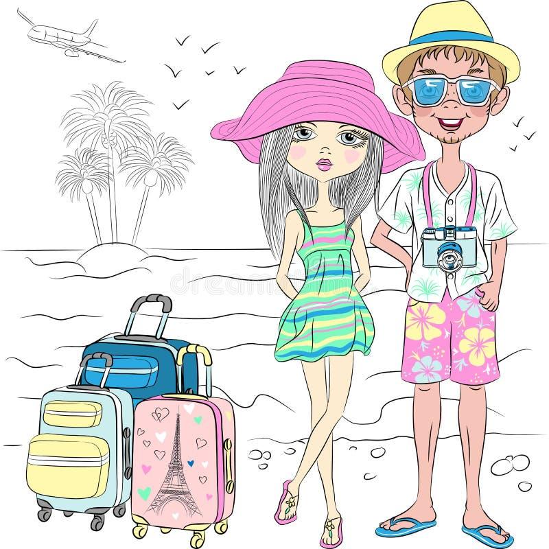 Vector pares do viajante do moderno na praia do mar ilustração do vetor