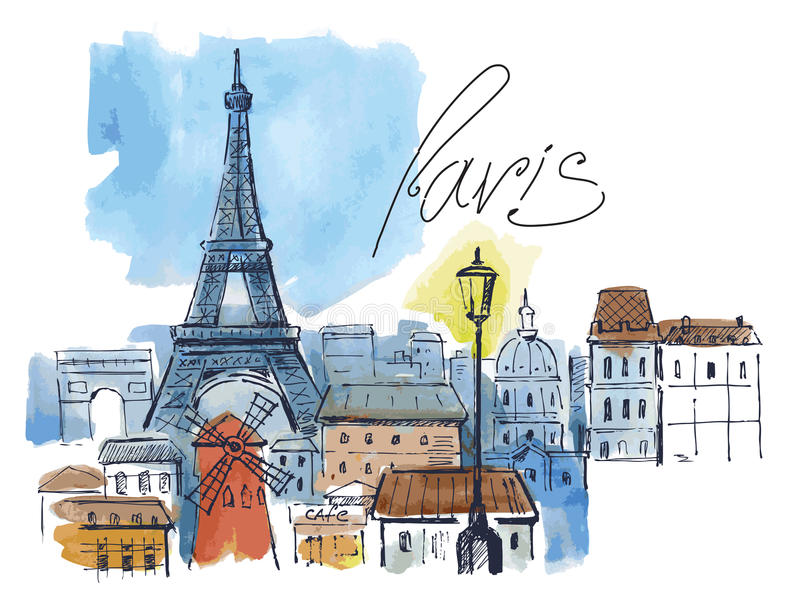 Download Vector paris stock vector. Image of acrylic, tower, town - 35047167