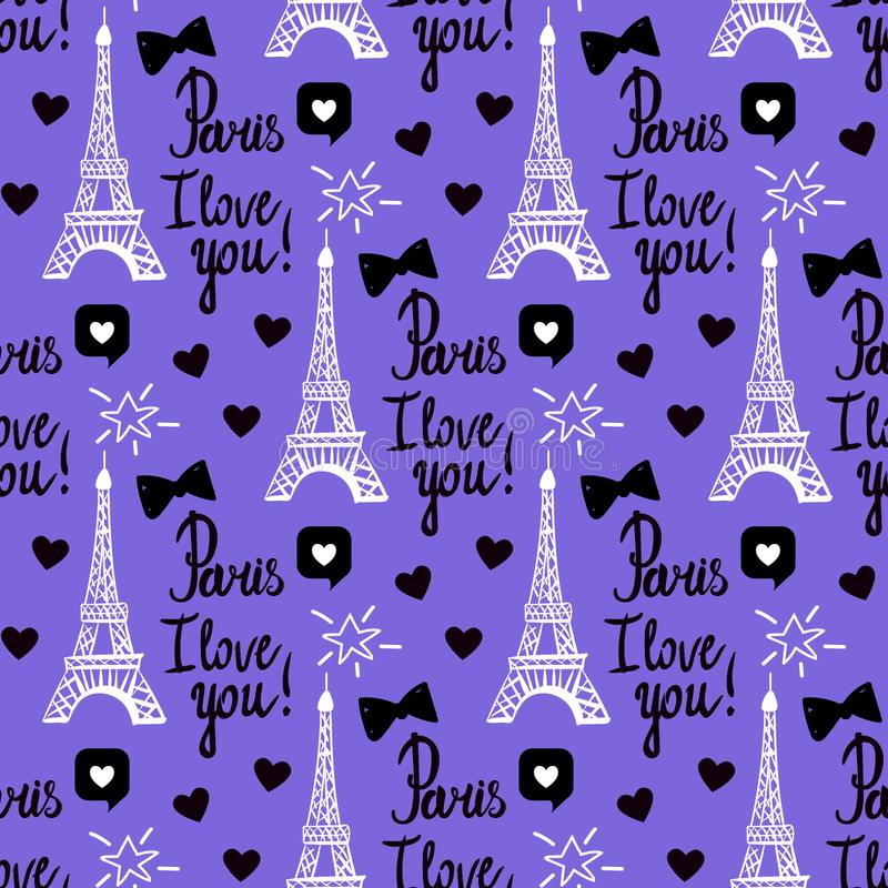 Vector Paris I love you seamless pattern. Hand drawing black set of Eiffel tower, inscriptions lettering. royalty free illustration