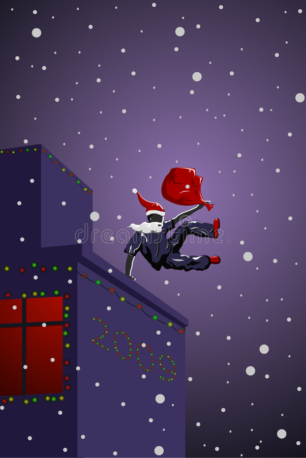 Vector parkour Santa Claus. With bag stock illustration