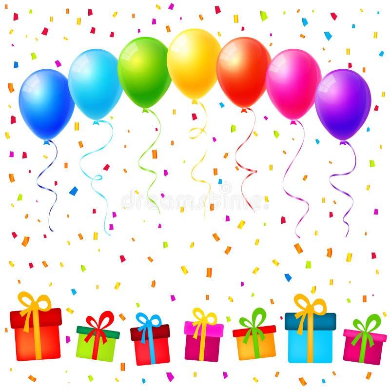 Vector Parteihintergrund mit bunten Ballonen, Geschenken und confet stock abbildung