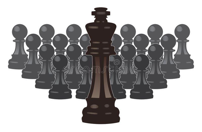 vector partes de xadrez de um rei e de penhores ilustração stock