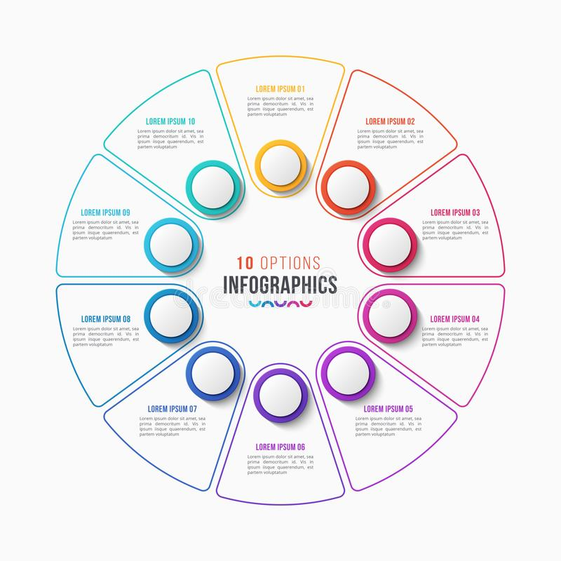 Vector 10 parts infographic design, circle chart stock illustration