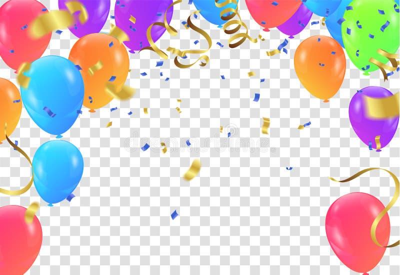 Vector party balloons illustration. Confetti and ribbons flag ri royalty free illustration