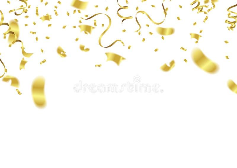 Vector party balloons illustration. Confetti and ribbons flag ri stock illustration