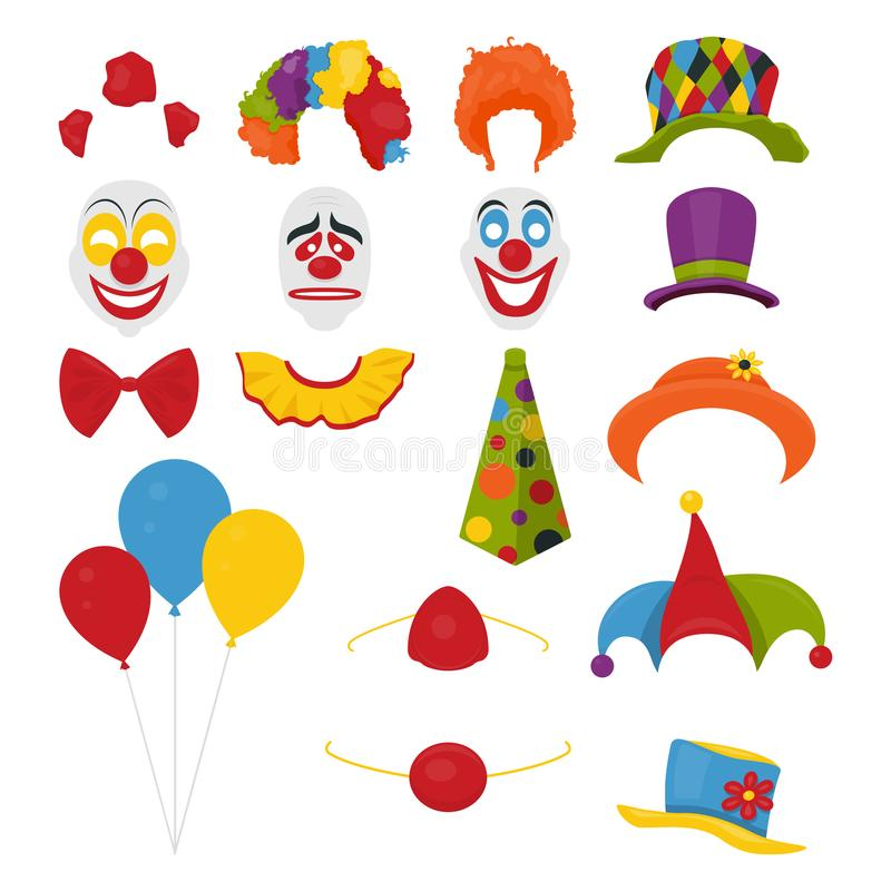 Vector Party Birthday or 1th april - Fool s Day - photo booth props. Hats, wigs, neckties, clown noses, masks, balloons stock illustration