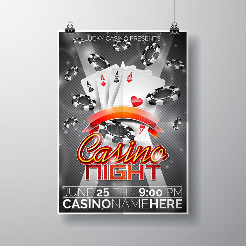 Vector Party Flyer design on a Casino theme with chips and cards on dark background. royalty free illustration