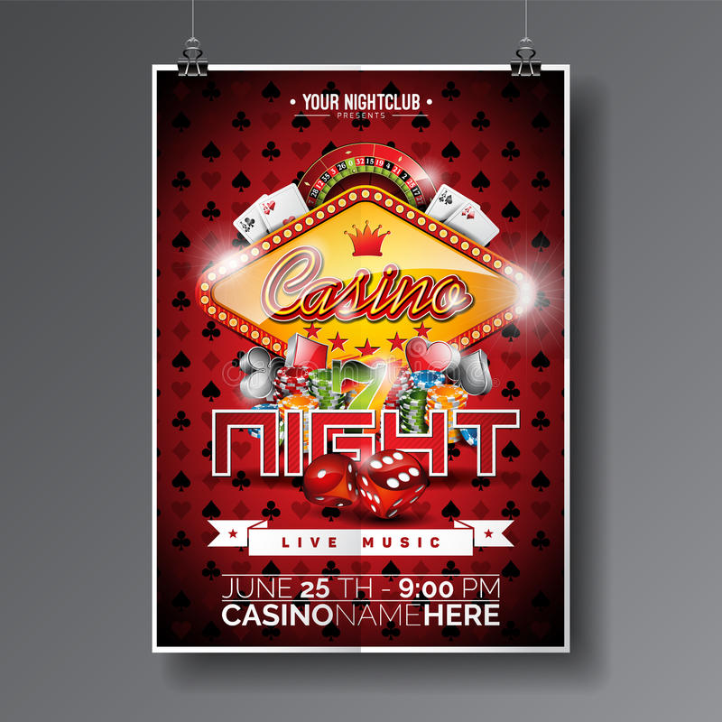 Vector Party Flyer design on a Casino theme with chips and cards on dark symbols background. stock illustration