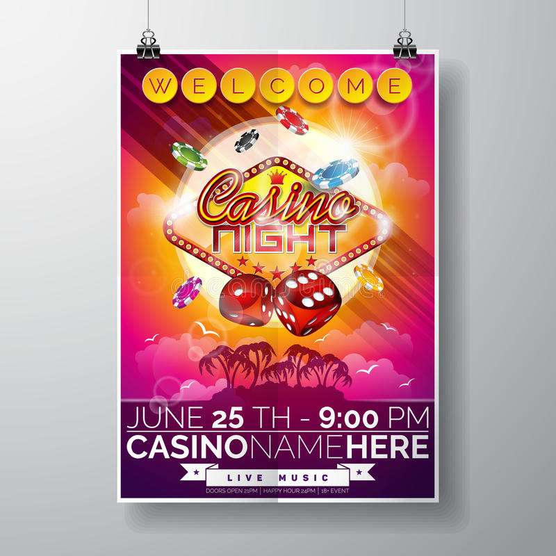 Vector Party Flyer design on a Casino theme with chips and dices on ocean landscape background. Eps 10 illustration royalty free illustration