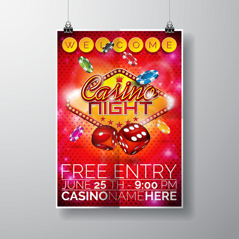 Vector Party Flyer design on a Casino theme with chips and dices on red background vector illustration