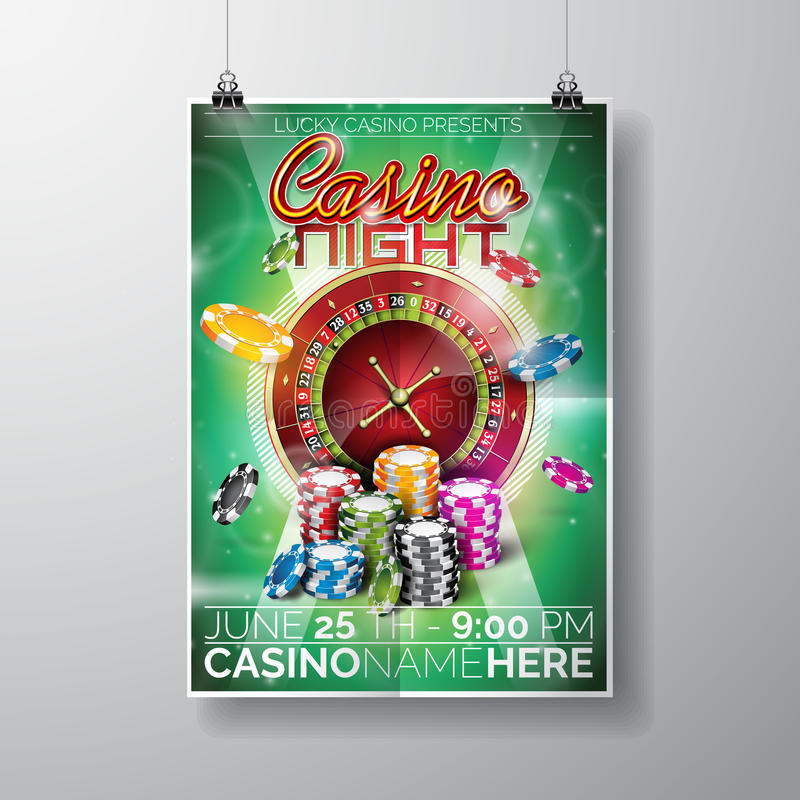 Vector Party Flyer design on a Casino theme with chips and roulette wheel on green background. stock illustration