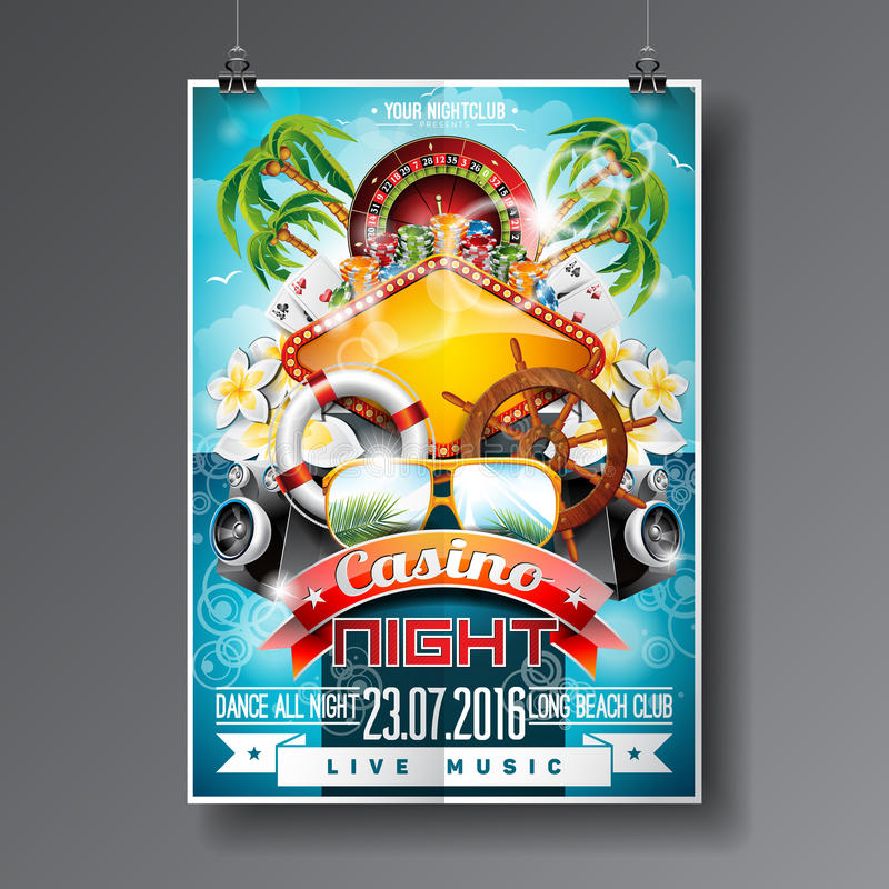 Vector Party Flyer design on a Casino theme with roulette wheel and summer elements on ocean landscape background. Eps 10 illustration vector illustration