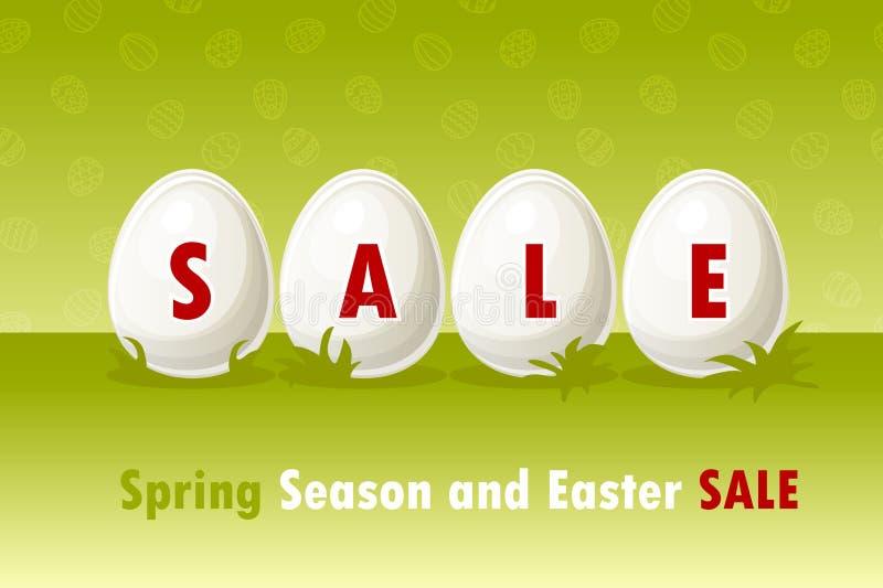 Vector Pascua feliz, huevos en hierba Oferta de la venta de la primavera y de Pascua, plantilla de la bandera En capas separadas libre illustration