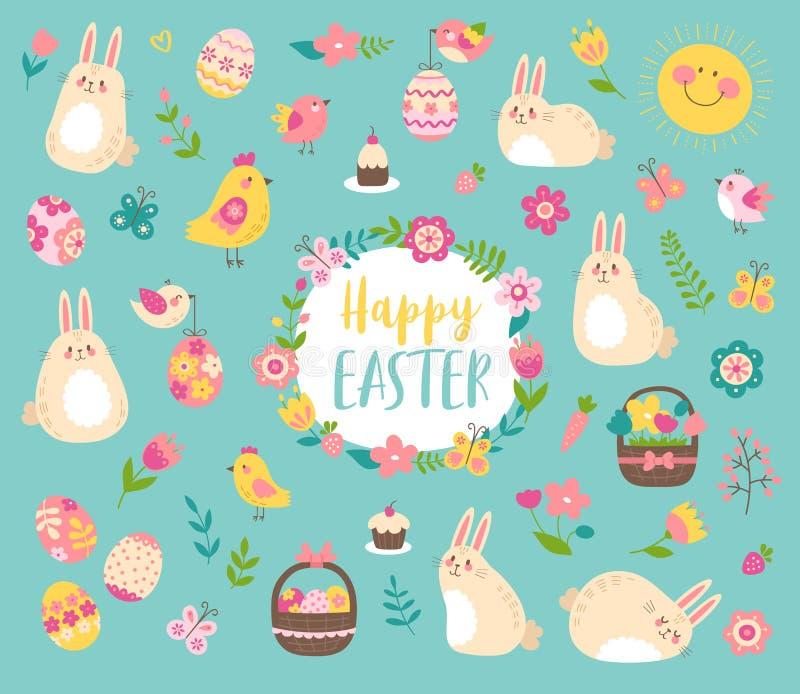 Vector Pascua fijada con los conejitos, los pájaros, las flores y los huevos lindos ilustración del vector
