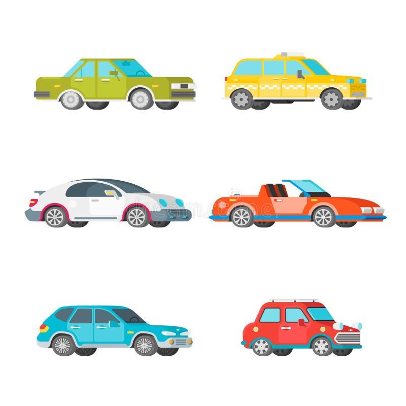 Vector passenger cars set in half isometric flat style vector illustration