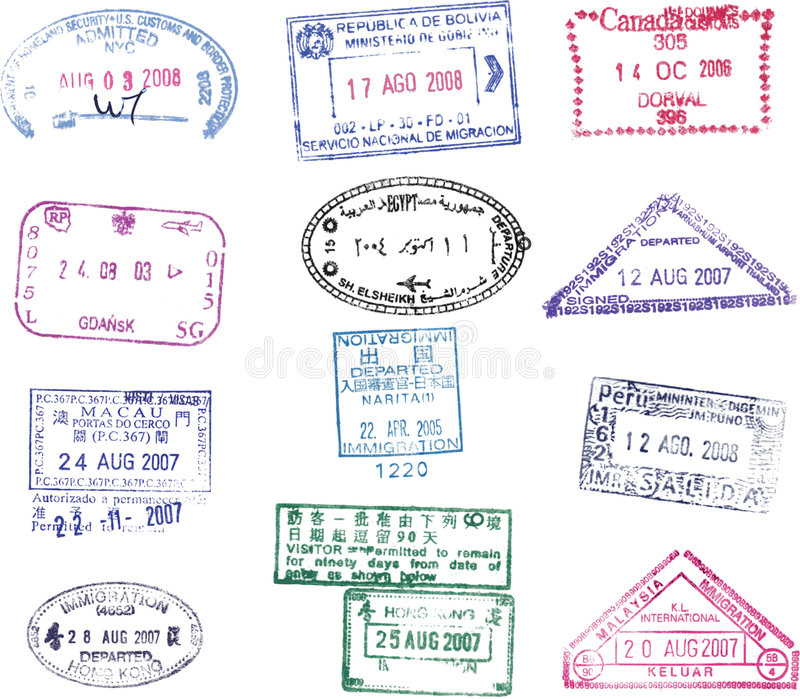 Vector passport stamp royalty free illustration