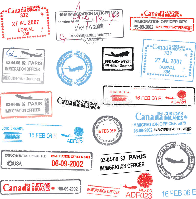 Vector Passport Stamps Stock Photography
