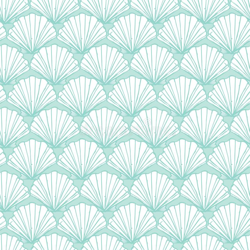Vector pastel aqua seashells repeat pattern. Suitable for gift wrap, textile and wallpaper stock illustration