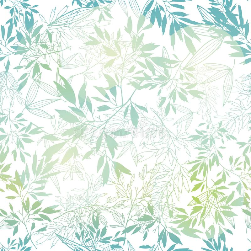 Vector pastel blue green tropical leaves summer seamless pattern with tropical green, blue plants and leaves on white stock illustration