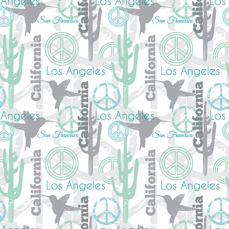 Vector Pastel California Animals Travel Seamless Pattern With Los
