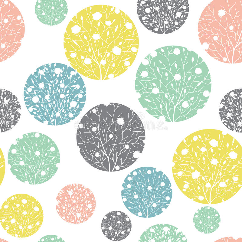 Vector Pastel Colorful Circles Dots Seamless Pattern Background With Spring Trees Texture. Perfect for neutral nursery royalty free illustration